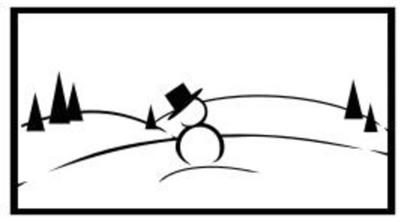 Snowman scene swith border for vinyl decal DIGITAL download image 0