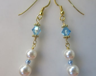 Blue Sky and White Clouds Festive Holiday Earrings---Swarovski White and Light Blue Crystal Pearls and  Aquamarine Sparkling Crystals