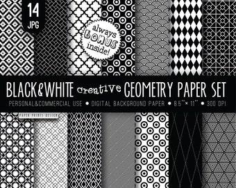 8.5 x 11 Black White Digital Paper, 8.5 x 11 print, wedding paper, black white paper, geometry paper, black and white paper printable