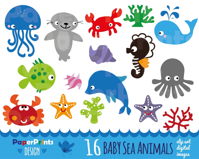 16 crías al mar los patrones de los animales del mar | Etsy