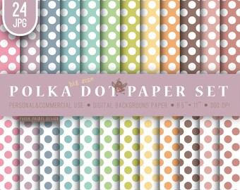 8.5 x 11 Pastel Polka Dot Digital Paper, polka dot paper, pastel paper, polka dot party, polka dot digital, polka dot background, printable