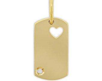 14kt Yellow Gold 1pt Diamond Cut Out Heart Mini Dog Tag Pendant