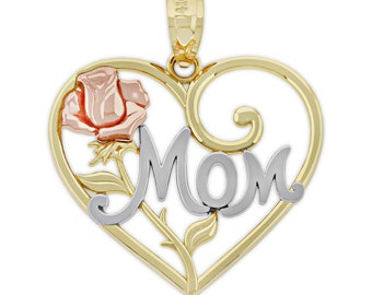 Gold Mom inside Heart Charm 14 Karat Solid Gold Charm America