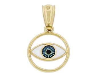 Gold Childrens Evil Eye Charm with Enamel Charm America 14 Karat Solid Gold