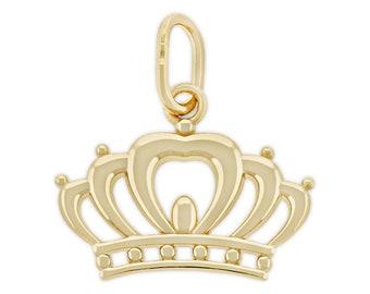 Details about  /Gorgeous 14K Karat Solid Yellow Gold Cubic Zirconias Crown Tiara Charm Pendant
