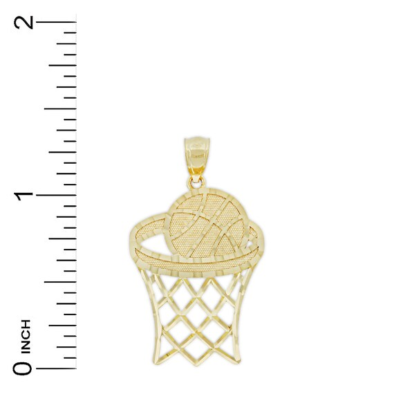 14 Karat Solid Gold Charm America Gold Small Basketball and Hoop Charm
