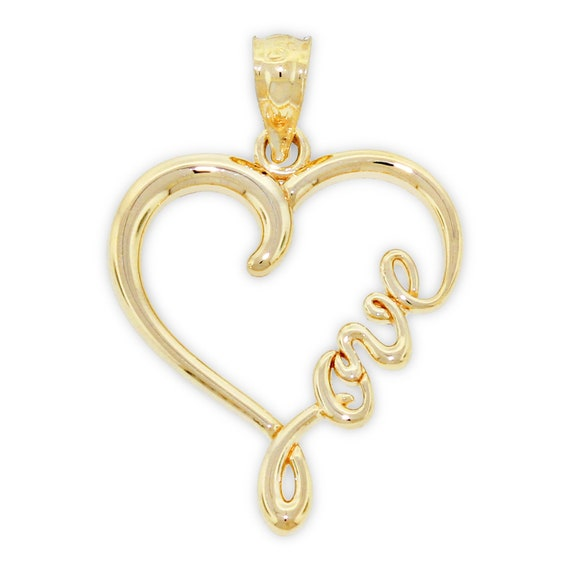 Paradise Jewelers Cursive C Initial Solid 14k Yellow Gold Letter Pendant