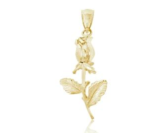 14k Gold Rose Charm