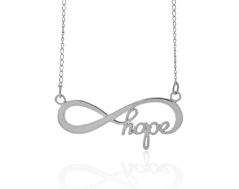 Sterling Silver Infinity Hope Necklace with Adjustable Chain