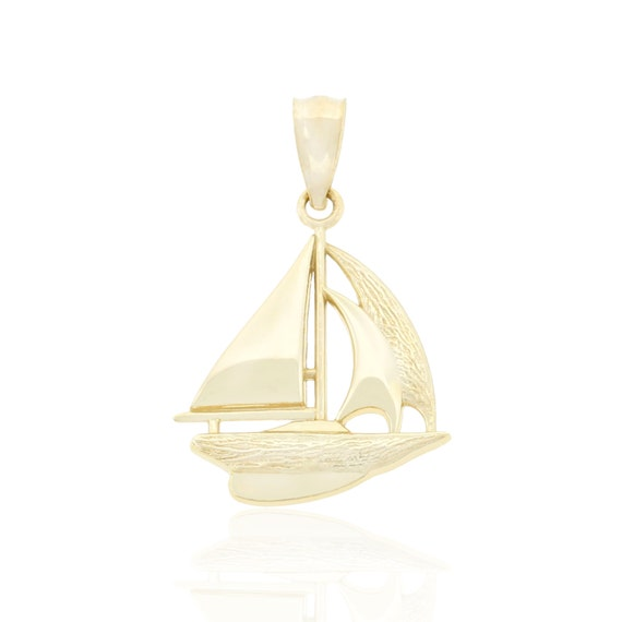 14k Yellow Gold 2-D Textured SPEED BOAT Charm