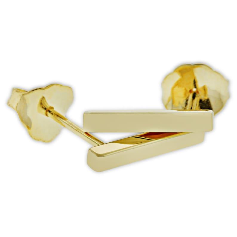 14 Karat Solid Gold Gold Bar Stud Earrings