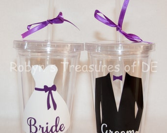 Personalized Bride and Groom Tumblers with lid and straw