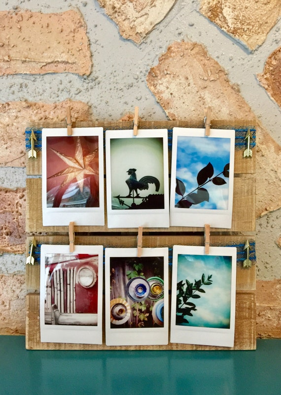 Instant Photo Display Instax Mini Display Pallet Instax Square Mounted Photo Instant Wall Decor Art Wood Antique Ribbon Clip Organize