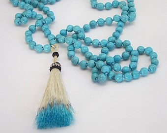 Turquoise Hoplite Tassel Necklace, long necklace, tassel jewelry, blue necklace, tassel necklace, Boho necklace, Boho fashion, turquoise