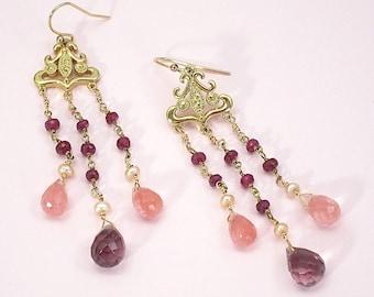 Pink gemstone chandelier earrings,                                 long, pink earrings, dangle earrings, gold jewelry, pink and gold,