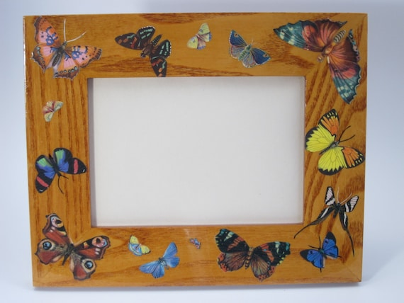 Decoupage Butterfly Picture Frame Home Decor Wall Decor Etsy Adorable Butterfly Home Decor Accessories