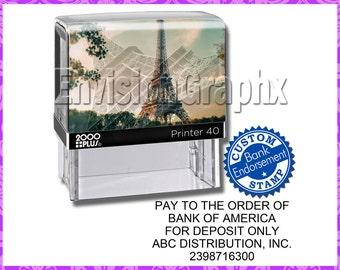 dc5053e497 More colors. Custom Personalized Bank Endorsement Deposit Self Inking  Rubber Stamp Paris Eiffel Tower Theme