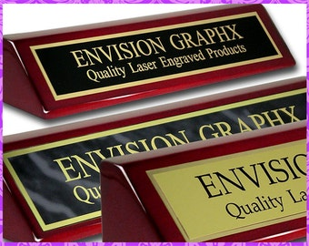 Personalized Custom Engraved Rosewood Brass Desk Name Plate PNA210