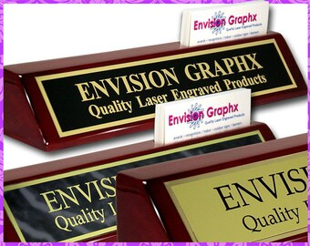 Personalized Custom Engraved Rosewood Brass Desk Name Plate with Side Card Holder PNA410