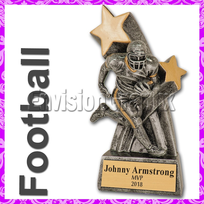 Personalized Custom Engraved 6 Male Football Super Star Trophy free engraving