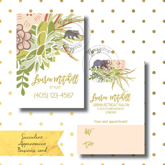 Succulent Appointment Business Card Etsy
