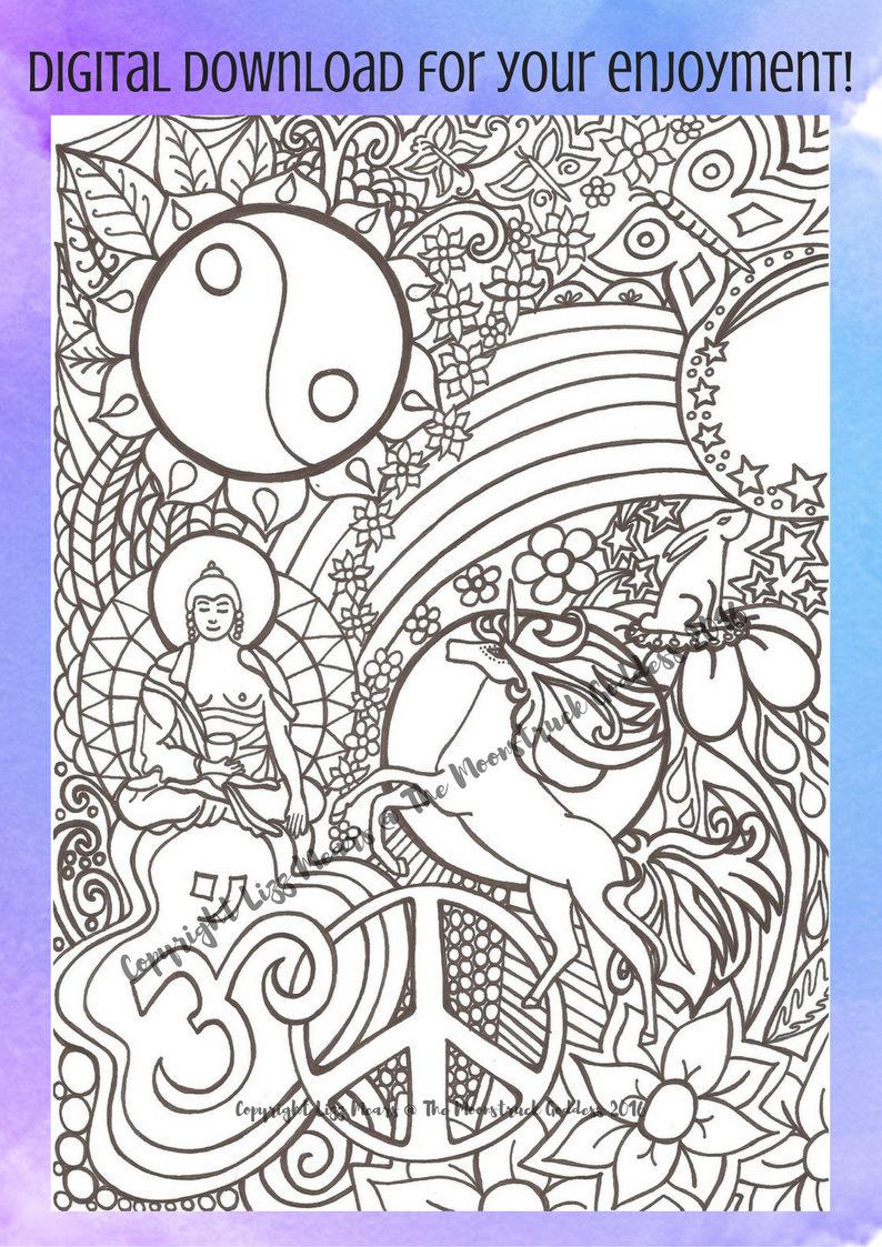 hippy buddha unicorn yin yang rainbow adult colouring page