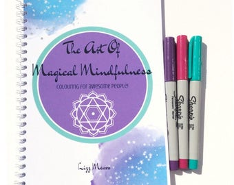 Colouring Book/ A5/ Spiral Bound/ Whimsical/ Unicorn /Animals /Zen tangle/ Wildlife/ Pagan/ Mindfulness Colouring/ Anxiety Aid /