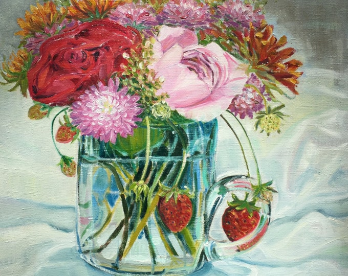 Rose Floral with Strawberries Oil Paintiing