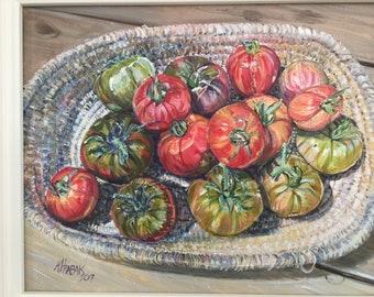 Homegrown tomatoes in Exuman basket
