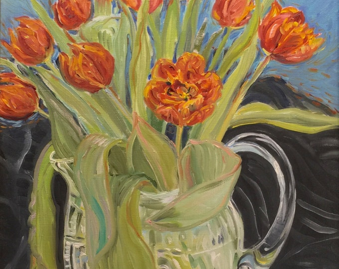 Flame Red Tulips Oil Painting