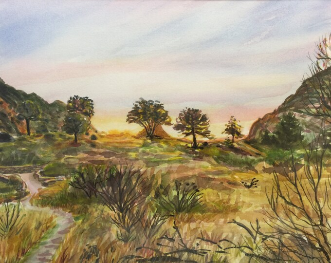 Big Bend Texas Sunset Watercolor