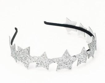 2c452885039 Silver Glitter Star Headband