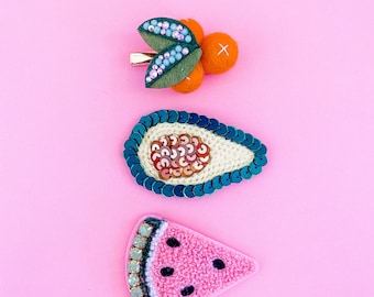 Back to School Fruit on Snap-clip or Alligator Hairclip Hair Clip