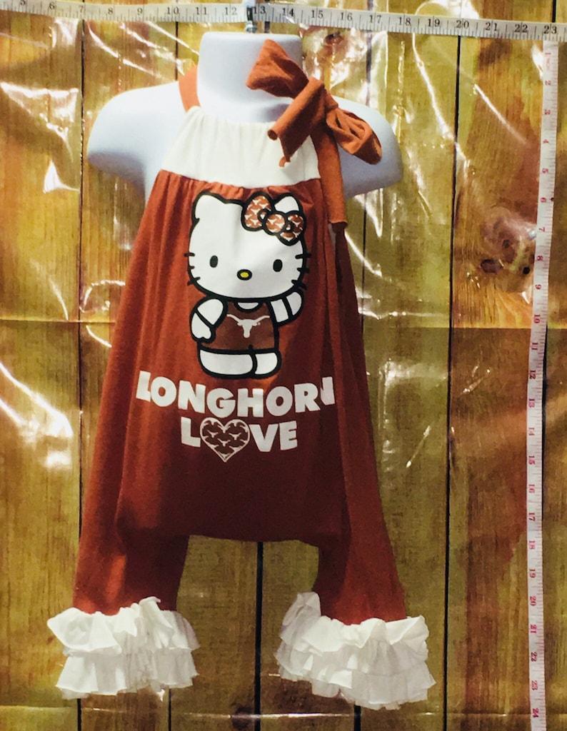 53a1449ff Texas Longhorns Tshirt Romper Hello Kitty Romper Hook'Em | Etsy