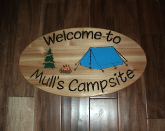 Tent Camping Sign - Personalized - - Large Oval