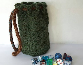 Green Dice Bag // Large // D&D, Pathfinder, Tabletop Gaming // Handmade Knitted