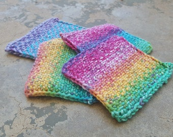 Set of 4 Knit Rainbow Cotton Coasters - Linen Stitch
