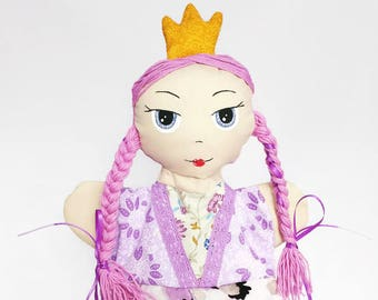 Little princess doll, hand puppet princess doll, handmade toy, gift for baby girl, queen rag doll