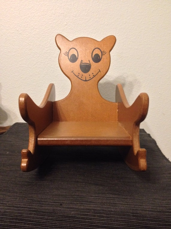 Magnificent Vintage Wooden Doll Rocking Chair With Cute Bear Face Creativecarmelina Interior Chair Design Creativecarmelinacom