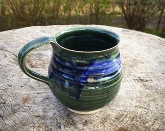 Pottery mug stoneware cup peacock design