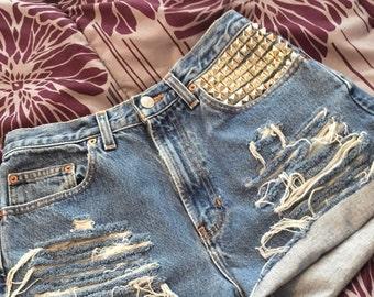 High Waisted Shorts / Studded Shorts/ Denim Highwaisted shorts/ Vintage / ALL SIZES