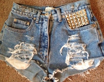 High Waisted shorts high-waisted denim shorts vintage shorts 90s studded all sizes custom cut offs distressed