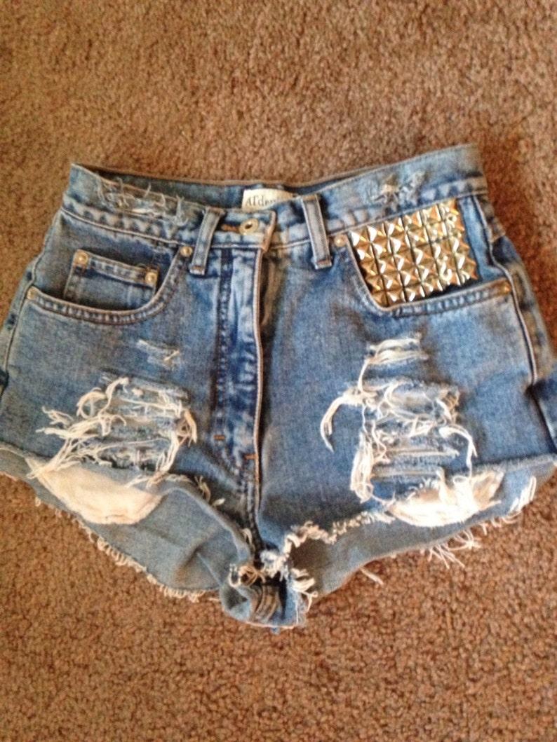 2a17e8f1ff High Waisted Blue Denim Shorts Front pocket studded Shredded