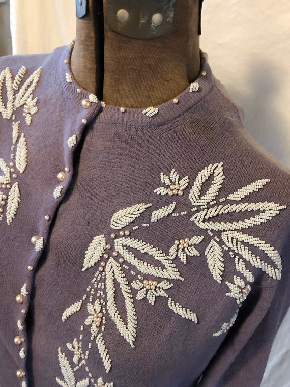 Vintage Lilac Hand Beaded Wool Sweater Cardigan M… - image 2
