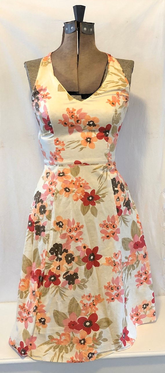 Vintage Floral Sleeveless Cotton Dress Lined Mid C