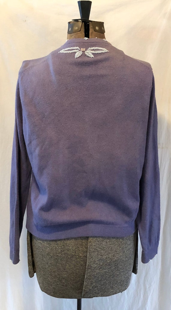 Vintage Lilac Hand Beaded Wool Sweater Cardigan M… - image 6