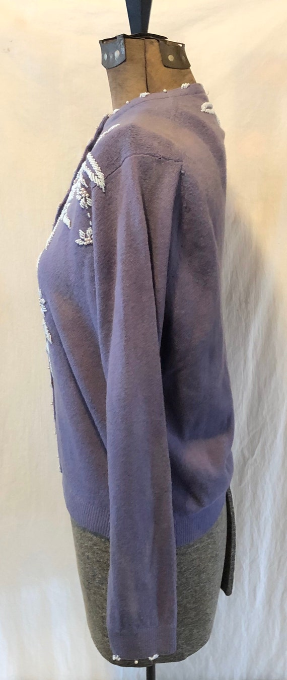 Vintage Lilac Hand Beaded Wool Sweater Cardigan M… - image 8