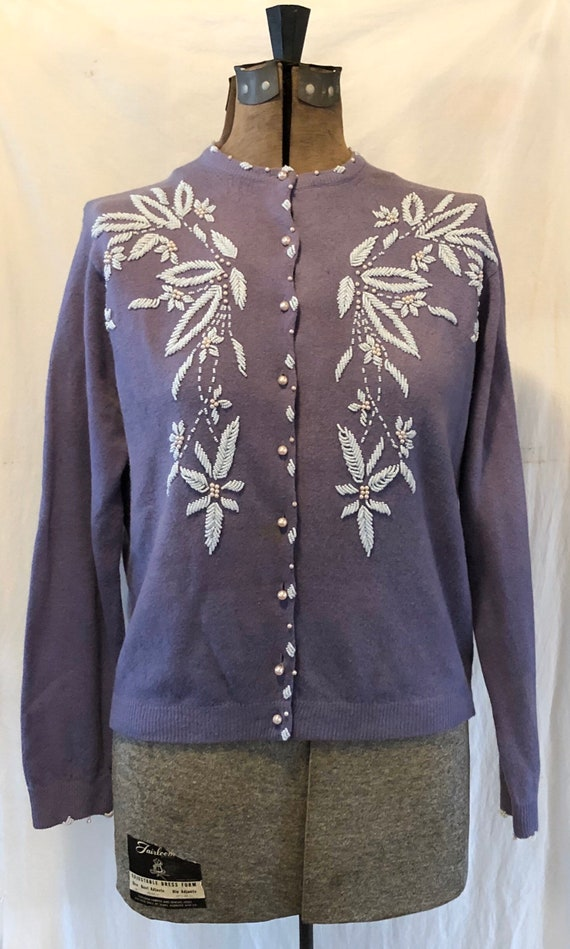 Vintage Lilac Hand Beaded Wool Sweater Cardigan Mi