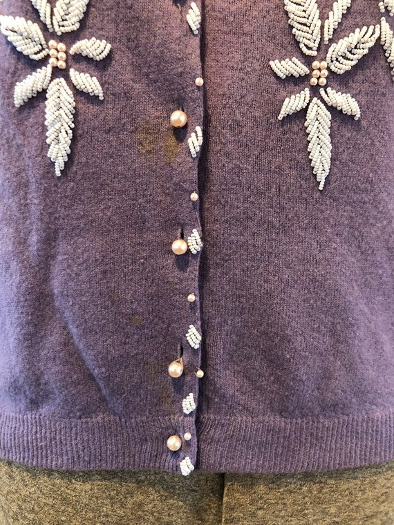 Vintage Lilac Hand Beaded Wool Sweater Cardigan M… - image 3