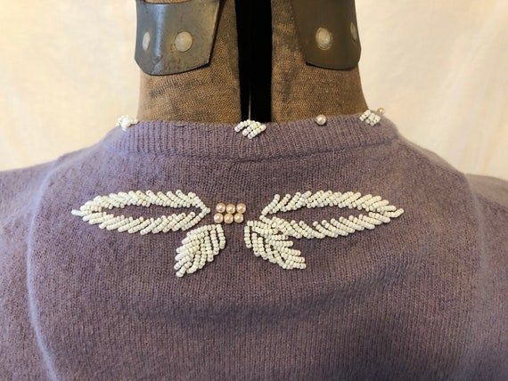 Vintage Lilac Hand Beaded Wool Sweater Cardigan M… - image 7
